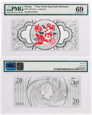 2018 Niue Disney Lunar Year of the Dog Foil Note 5 g Silver 20c PMG Superb Gem Unc 69 ER