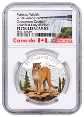 2018 Canada Majestic Wildlife - Courageous Cougar 1 oz Silver Proof $20 Coin NGC PF70 UC ER Exclusive Canada Label