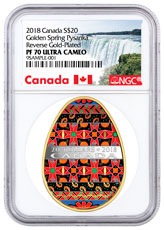2018 Canada Ukrainian Pysanka - Spring Egg Shaped 1 oz Silver Colorized Gilt Proof $20 Coin NGC PF70 UC Exclusive Canada Label