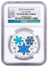 2018 Canada Ice Crystals 1 oz Silver Enameled Proof $20 Coin NGC PF70 Holiday Label