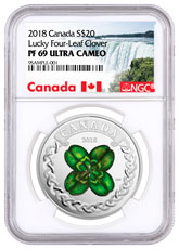 2018 Canada Lucky Clover 1 oz Silver Colorized Proof $20 Coin NGC PF69 UC Exclusive Canada Label