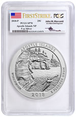 2018 Apostle Islands 5 oz. Silver America the Beautiful Specimen Coin PCGS SP70 FS Mercanti Signed Flag Label