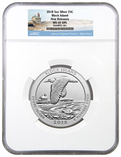 2018 Block Island 5 oz. Silver America the Beautiful Coin NGC MS69 DPL FR