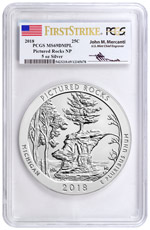 2018 Pictured Rocks 5 oz. Silver America the Beautiful Coin PCGS MS69 DMPL FS Mercanti Signed Label