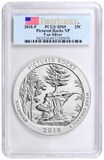 2018 Pictured Rocks 5 oz. Silver America the Beautiful Specimen Coin PCGS SP69 FS Flag Label