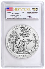 2018 Pictured Rocks 5 oz. Silver America the Beautiful Specimen Coin PCGS SP70 FS Mercanti Signed Flag Label