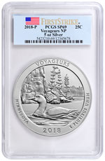 2018 Voyageurs 5 oz. Silver America the Beautiful Specimen Coin PCGS SP69 FS Flag Label