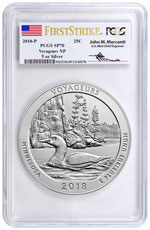 2018 Voyageurs 5 oz. Silver America the Beautiful Specimen Coin PCGS SP70 FS Mercanti Signed Flag Label