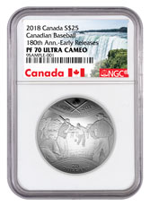 2018 Canada 180th Anniversary of Canadian Baseball Domed 1 oz Silver Proof $25 Coin NGC PF70 UC ER Exclusive Canada Label