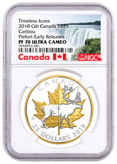 2018 Canada Timeless Icons - Caribou Piedfort 1 oz Silver Gilt Proof $25 Coin NGC PF70 UC ER Exclusive Canada Label
