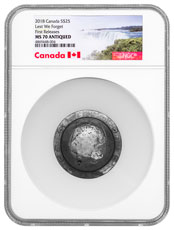2018 Canada Lest We Forget WW1 Ultra High Relief Helmet Shaped 1.5 oz Silver Antiqued $25 Coin NGC MS70 FR Exclusive Canada Label