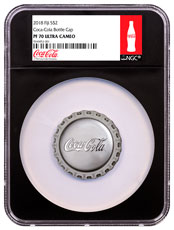 2018 Fiji Coca Cola Bottle Cap 1 oz Silver Proof $2 Coin NGC PF70 UC Black Core Holder Exclusive Coca-Cola Label