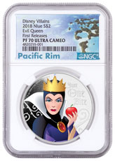 2018 Niue Disney Villains - Evil Queen 1 oz Silver Colorized Proof $2 Coin NGC PF70 UC FR Exclusive Pacific Rim Label