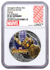 2018 Fiji Marvel's Avengers: Infinity War - Thanos 2 oz Silver Colorized Antiqued $2 Coin NGC PF69 FR Exclusive Marvel Label