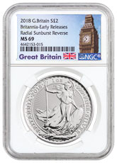 2018 Great Britain 1 oz Silver Britannia £2 Coin NGC MS69 ER Exclusive Big Ben Label