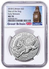 2018 Great Britain Year of the Dog 1 oz Silver Lunar £2 Coin NGC MS70 ER Exclusive Big Ben Label