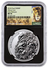 2018 Republic of Chad African Lion 1 oz Silver Fr5,000 Coin NGC MS70 ER Black Core Holder Exclusive Lion Label