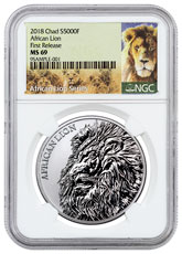 2018 Republic of Chad African Lion 1 oz Silver Fr5,000 Coin NGC MS69 FR Exclusive Lion Label