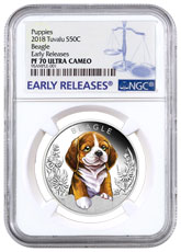 2018 Tuvalu Puppies - Beagle 1/2 oz Silver Colorized Proof $0.50 Coin NGC PF70 UC ER