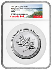 2018 Canada Magnificent Maple Leaves 10 oz Silver $50 Coin NGC MS69 ER Exclusive Canada Label