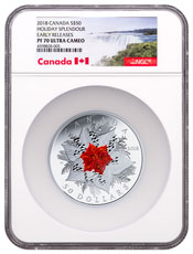 2018 Canada Holiday Splendour - 5 oz Silver Proof $50 Coin NGC PF70 UC ER Exclusive Canada Label