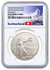 2018 Switzerland Shooting Festival Thaler - Winkelried Silver Proof Fr.50 Coin NGC PF69 UC Exclusive Switzerland Label