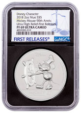 2018 Niue Mickey Mouse 90th Anniversary Ultra High Relief 2 oz Silver Proof $5 Coin NGC PF69 UC FR Black Core Holder