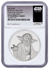 2018 Niue Star Wars - Yoda Ultra High Relief 2 oz Silver Colorized Proof $5 Coin NGC PF70 UC ER Star Wars Label