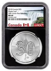 2018 Canada 1 oz Silver Maple Leaf - 30th Anniversary $5 Coin NGC MS69 FR Black Core Holder Exclusive Canada Label