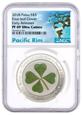 2018 Palau Four-Leaf Clover 1 oz Silver Enameled Proof $5 Coin NGC PF69 UC ER Exclusive Pacific Rim Label