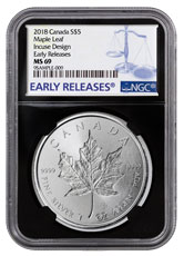 2018 Canada 1 oz Silver Maple Leaf - Incuse $5 Coin NGC MS69 ER Black Core Holder