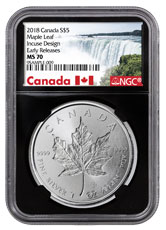 2018 Canada 1 oz Silver Maple Leaf - Incuse $5 Coin NGC MS70 ER Black Core Holder Exclusive Canada Label