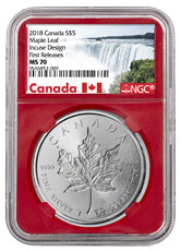 2018 Canada 1 oz Silver Maple Leaf - Incuse $5 Coin NGC MS70 FR Red Core Holder Exclusive Canada Label