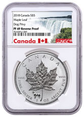 2018 Canada 1 oz Silver Maple Leaf - Dog Privy Reverse Proof $5 Coin NGC PF69 Exclusive Canada Label