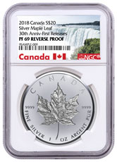 2018 Canada 1 oz Silver Maple Leaf - Incuse Reverse Proof $20 Coin NGC PF69 FR Exclusive Canada Label
