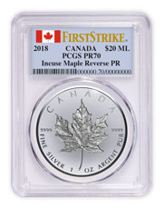 2018 Canada 1 oz Silver Maple Leaf - Incuse Reverse Proof $20 Coin PCGS PR70 Canada Flag Label