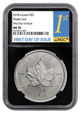 2018 Canada 1 oz Silver Maple Leaf $5 Coin NGC MS70 FDI Black Core Holder