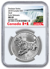 2018 Canada Predator Series - Wolf 1 oz Silver $5 Coin NGC MS69 ER Exclusive Canada Label