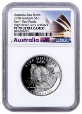2018 Australia Australia Zoo - Ravi the Red Panda 1 oz Silver Proof $5 Coin NGC PF70 UC ER
