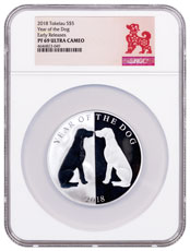 2018 Tokelau Year of the Dog Mirror Dog 1 oz Silver Lunar Proof $5 Coin NGC PF69 ER