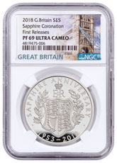 2018 Great Britain Sapphire Coronation Silver Proof £5 Coin NGC PF69 UC FR Box with COA Tower Bridge Label