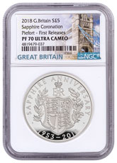 2018 Great Britain Sapphire Coronation Piedfort Silver Proof £5 Coin NGC PF70 UC FR Box with COA Tower Bridge Label