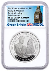 2018 Great Britain The Royal Wedding Piedfort Silver Proof £5 Coin NGC PF69 UC FR Exclusive Big Ben Label
