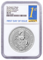 2018 Great Britain 2 oz Silver Queen's Beasts - Unicorn of Scotland £5 Coin NGC MS70 FDI First Day of Issue Label