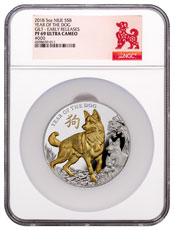 2018 Niue Year of the Dog 5 oz High Relief Silver Lunar Gilt Proof $8 Coin NGC PF69 ER