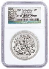 2018 Isle of Man 2 oz High Relief Silver Angel - Piedfort Proof Coin NGC PF69 UC FR Exclusive Angel Label