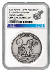 1969-2019 Apollo 11 50th Anniversary Robbins Medals 1 oz Silver-Plated Antiqued Medal NGC GEM Unc