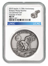 1969-2019 Apollo 11 50th Anniversary Robbins Medals 1 oz Silver-Plated Antiqued Medal NGC MS70 FDI