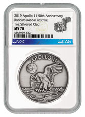 1969-2019 Apollo 11 50th Anniversary Robbins Medals 1 oz Silver-Plated Antiqued Medal NGC MS70