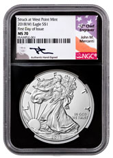 2018-(W) American Silver Eagle Struck at West Point NGC MS70 FDI Black Core Holder Mercanti Signed Label
